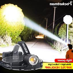 100000LM XHP70.2 Led <font><b>Headlamp</b></font> XHP70 Yell
