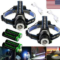 990000Lumen T6 LED Zoomable Headlamp USB Rechargeable 18650