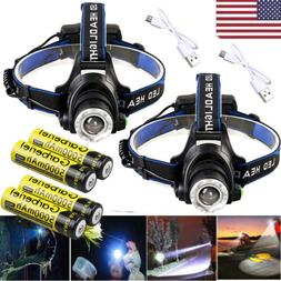 100000Lumen T6 LED Zoomable Headlamp USB Rechargeable 18650