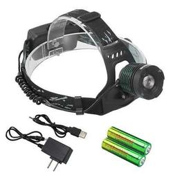 10000LM LED Headlamp Zoomable Head Torch Light 2x18650 Batte