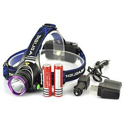 10000LM LED Rechargeable Headlight Headlamp Flashlight+2x186