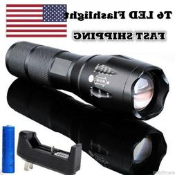 9000000LM Tactical Police T6 LED Flashlight 5-Zoomable Recha