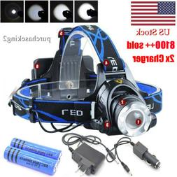 200000LM Rechargeable Head light LED Tactical Headlamp Zooma