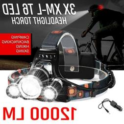 120000Lumen T6 LED Zoomable Headlamp USB Rechargeable 18650
