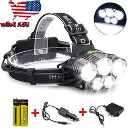 150000LM 5LED Headlamp Rechargeable 18650 Headlight Head Tor