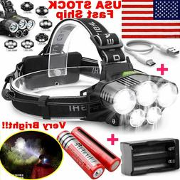 450000LM 5X T6 LED Headlamp Rechargeable Head Light Flashlig