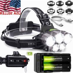 150000LM 5XT6 LED Headlamp Super Bright Rechargeable Headlig
