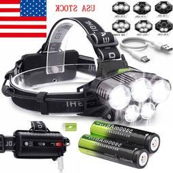 160000LM 5X T6 LED Rechargeable Headlight Headlamp 18650 Fla