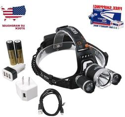 BORUiT 16000LM Headlamp XM-L 3x T6 LED Headlight 18650 Batte