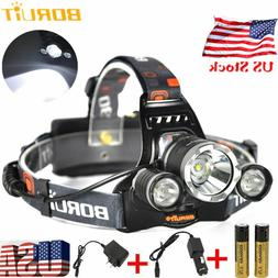 BORUiT 16500 Lumen Headlamp CREE 3x L2 LED Headlight 18650 B