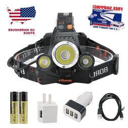 BORUiT 15000 Lumen Headlamp XM-L 3x T6 LED Headlight 18650 B