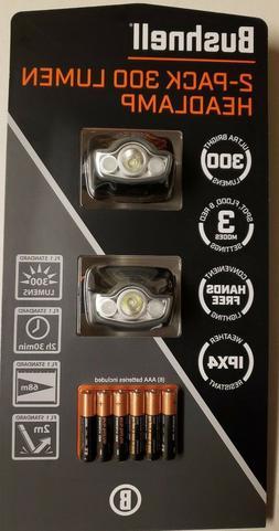 Bushnell 2-Pack 300 Lumen Headlamp 3 Modes Hands Free Weathe