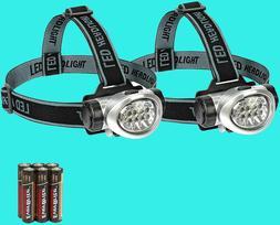 2-Pack Headlamp Flashlight Durable Lightweight Batteries Inc