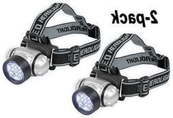 2 x Hands Free 7 LED Headband Flashlight Headlamp Headlight