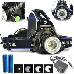 Lot 900000LM Rechargeable LED Headlamp Tactical Headlight He