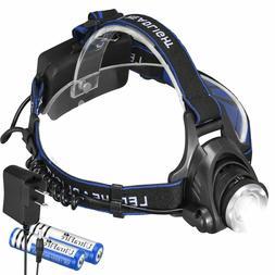 20000LM Zoomable Headlamp T6 LED Headlight Flashlight +Charg