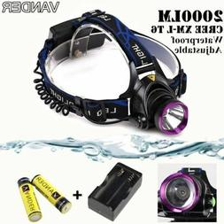 2000LM Headlamp Hands Free Flashlight Headband Lamp Head Lig