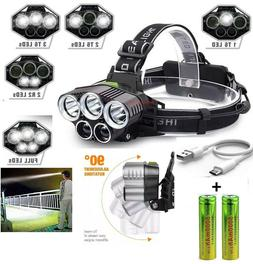 250000LM 5X T6 LED Headlamp Rechargeable Head Light Flashlig