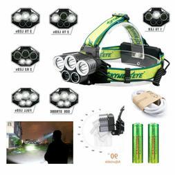 250000LM 5XT6 LED Headlamp Rechargeable 6Modes Head Light Fl