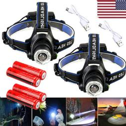 250000Lumen T6 LED Zoomable Headlamp USB Rechargeable 18650