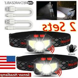 2X 85000Lm Motion Sensor LED Headlight USB Rechargeable Head