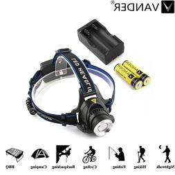 3-Mode 10000LM Zoomable LED Headlamp Searchlight + 2x 18650