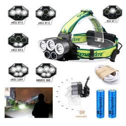 250000LM 5X LED Headlamp Rechargeable Head Light Flashlight