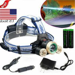 30000LM Tactical T6 LED Headlamp Zoomable HeadLight Lamp + 1