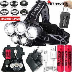 350000LM T6 LED Headlamp Headlight Head Torch Rechargeable F