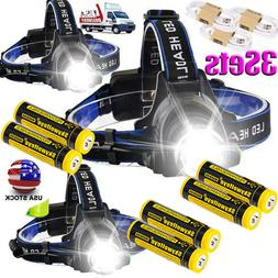 350000LM T6 LED Zoom USB Headlamp Rechargeable Headlight Hea