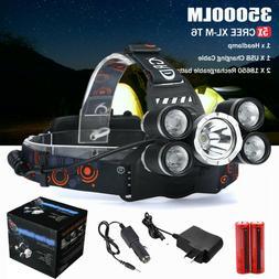 35000LM 5x XM-L T6 LED Headlamp Flashlight Head Lights Lamp