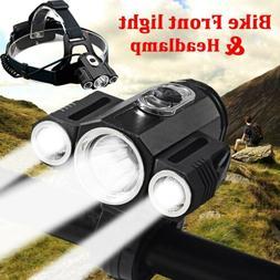 35000Lumens 3xT6 Bike Bicycle Front LED Headlamp Light Recha