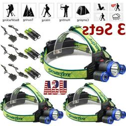 3set 350000lm 3x led zoom headlamp rechargeable