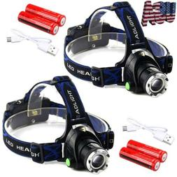 450000Lumen T6 LED Zoomable Headlamp USB Rechargeable 18650