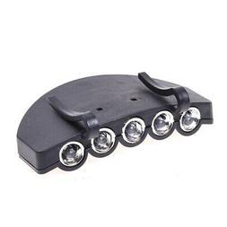 5 LED Head Cap Hat Clip Light Lamp Flashlight Hands-Free For