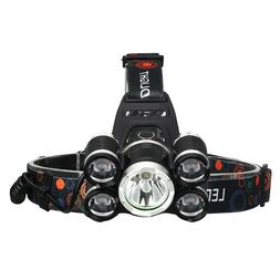 5 LEDs Rechargeable Headlamp Flashlight Head Torch Lamp For