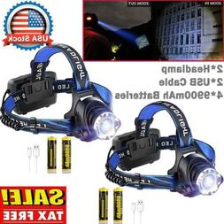 500000Lumen T6 LED Zoomable Headlamp USB Rechargeable 18650