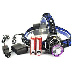 5000LM LED Headlamp 18650 Flashlight Torch Light w/ 2x Batte