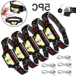 5X 85000Lm Motion Sensor LED Headlamp Headlight USB Recharge