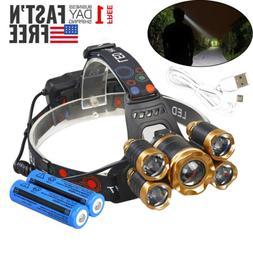 600000LM 5X T6 LED Headlamp USB Rechargeable 18650 HeadLight