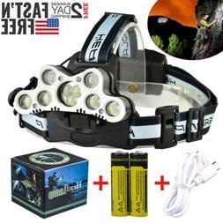 Super-bright 90000LM 5 X XM-L T6 LED Headlamp Headlight Flas