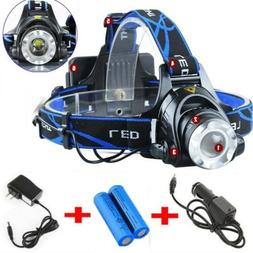 900000LM Rechargeable Head light T6 LED Headlamp Tactical Fl
