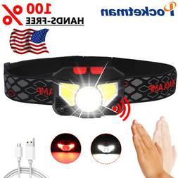 60000Lm LED Headlamp Motion Sensor Head Lamp Headlight Recha
