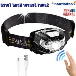 60000lm LED HeadLamp Motion Sensor USB Rechargeable head lam