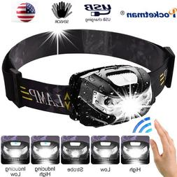 60000LM LED Headlamp Motion Sensor USB Rechargeable 5 Modes