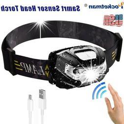60000lm LED HeadLamp Motion Sensor USB Rechargeable head lam