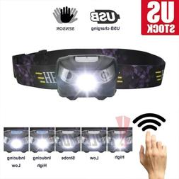 60000LM USB Rechargeable Motion Sensor Head Lamp 5 Modes LED