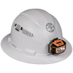 Klein 60407 Hard Hat, Vented, Full Brim with Headlamp, Class