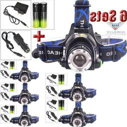 6Sets12000LUMEN  T6 LED Zoomable Headlamp Head-lamp Flashlig