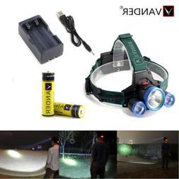 7000 lumen LED Flashlight Torch headlamp 6000mAh 2*18650 bat